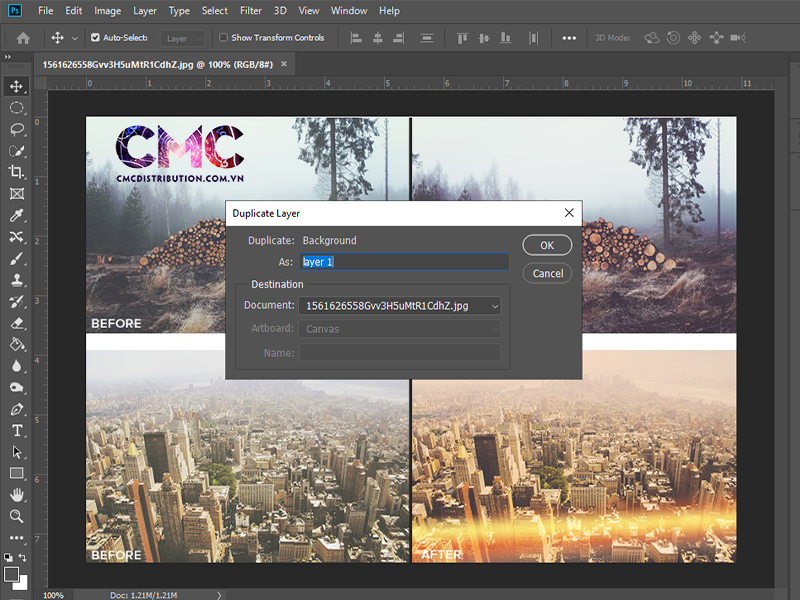 Cach copy Layer tren cung mot file trong Photoshop 2