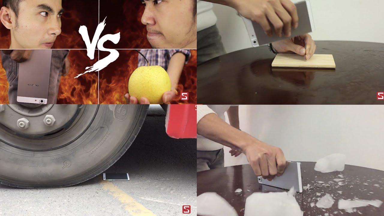 Schannel - OPPO R5 Durability Test: fruits, ice, nail and... a BUS